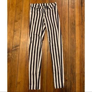 Divided H&M stretchy black & white stripe jegging